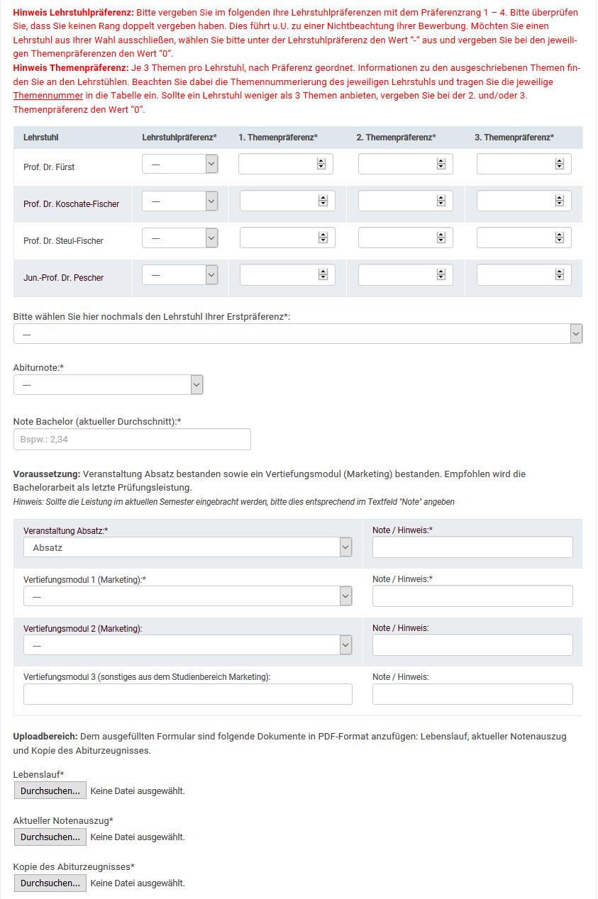 Vorschau Formular Bachelorarbeit